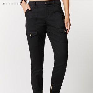 Jaanuu black skinny cargo scrub pants